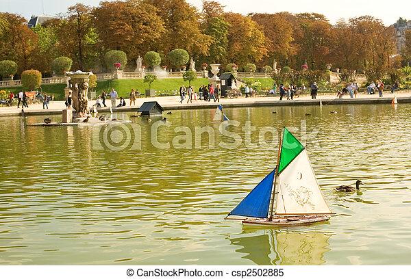 juguete, jardín, parís, luxemburgo, francia, barcos - csp2502885