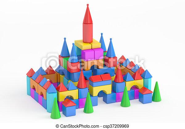 Torres de bloques de juguetes para niños, representación 3d