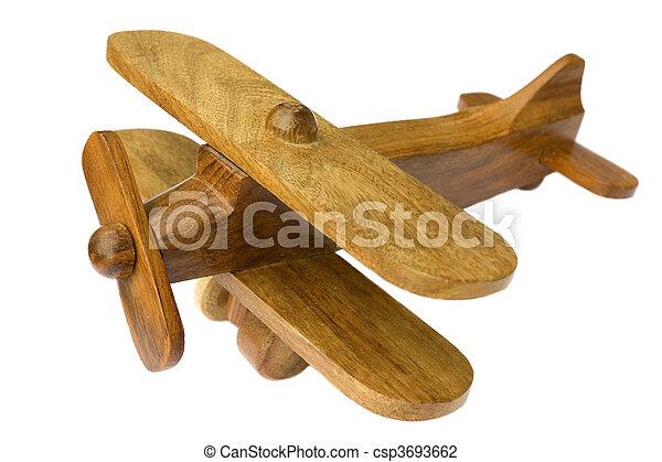 juguete, viejo, de madera, avión, plano de fondo, blanco - csp3693662