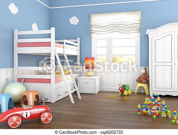 La habitación de los niños azules con juguetes - csp6202733