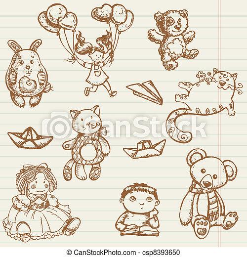 Colección de juguetes a mano en vector - csp8393650