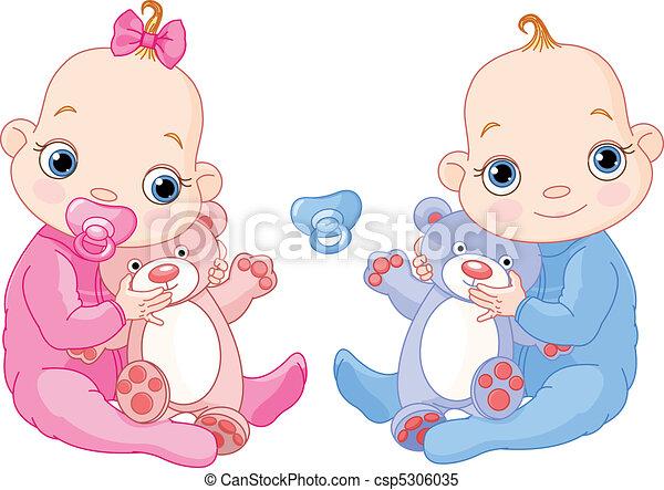 Lindos gemelos con juguetes - csp5306035