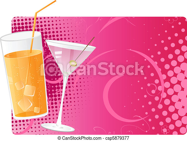 Juice and martini on pink halftone background - csp5879377