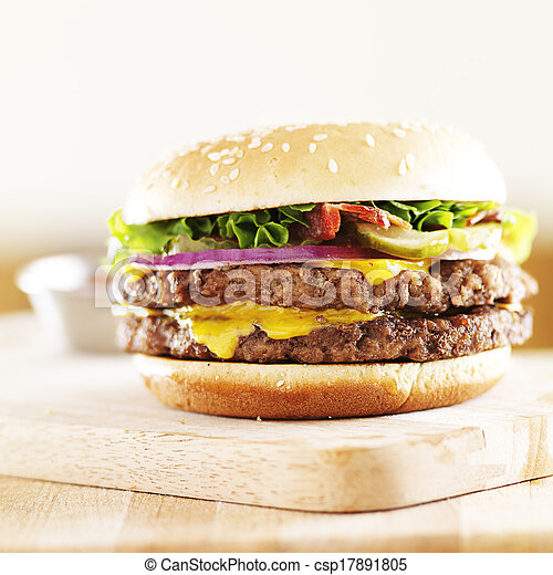 juicy double cheese burger with bacon - csp17891805