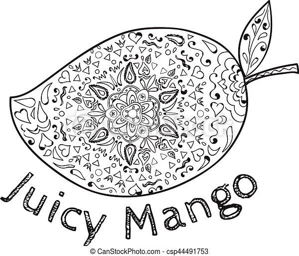 Juicy Mango Black And White Mandala Vector