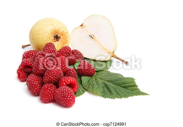 Juicy, ripe pears and raspberries on a white. - csp7124991