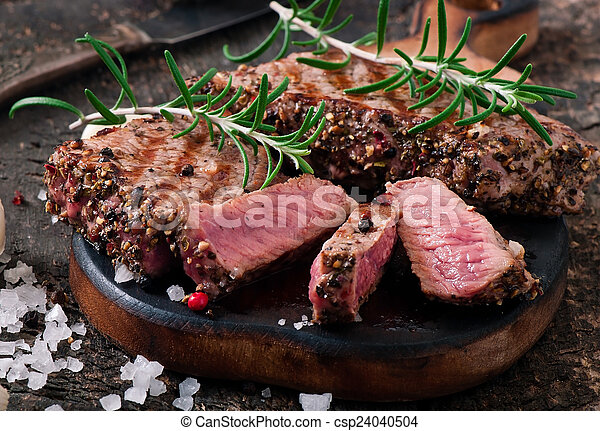 Juicy steak medium rare beef  - csp24040504