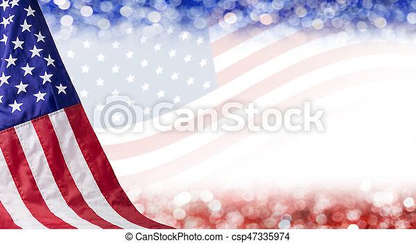 juillet, bokeh, indépendance, copie, américain, autre, fond, jour, 4, espace, drapeau, célébration - csp47335974