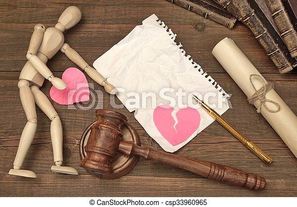 juizes, conceito, divórcio, court., livro, gavel, lei, gavel - csp33960965