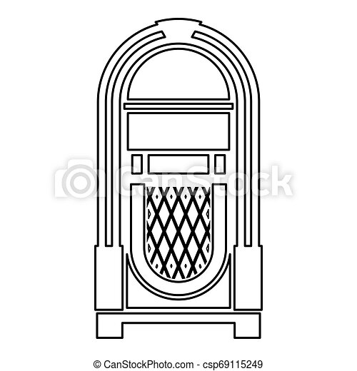 Jukebox Juke box automated retro music concept vintage playing device icon outline black color vector illustration flat style image - csp69115249