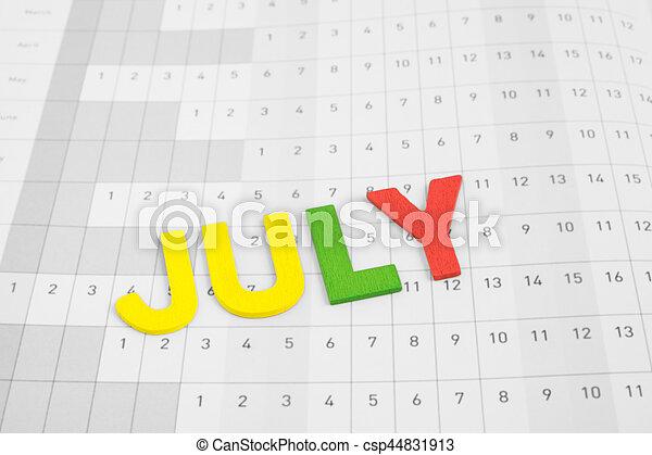 Mes De Julio Calendario.Julio Papel Calendario Mes