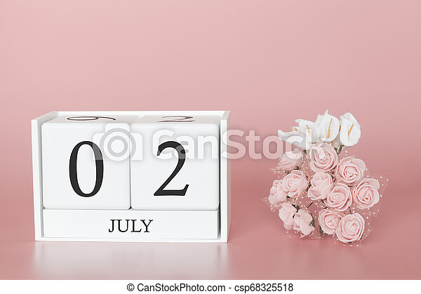 July 02nd. Day 2 of month. Calendar cube on modern pink background, concept of bussines and an importent event. - csp68325518