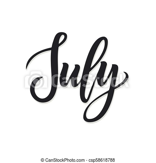 July Hand Drawn Lettering Vector Illustration Eps 10
