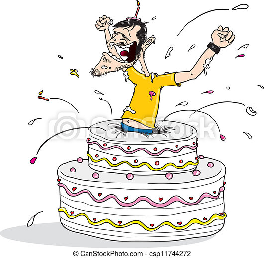 Jump out birthday cake Cartoon illustration of a man vectors