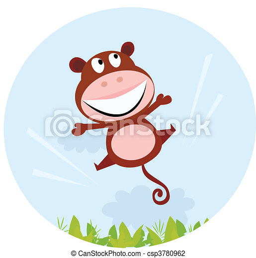 Jumping african cute monkey - csp3780962