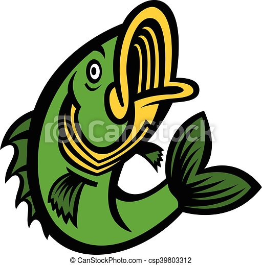 jumping bass fish vector icon vector clip art search illustration rh canstockphoto com Largemouth Bass Vector Bass Fish Vector