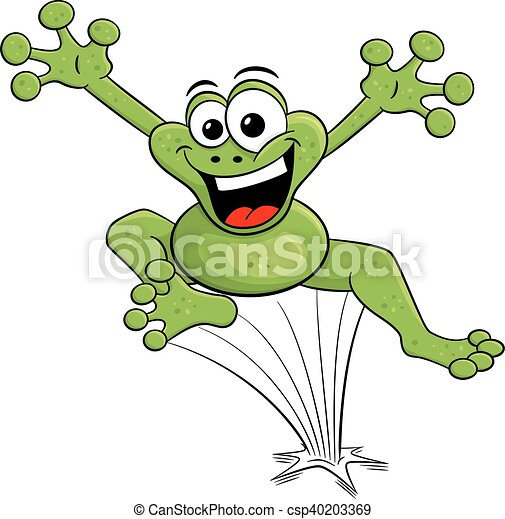 jumping cartoon frog isolated on white - csp40203369