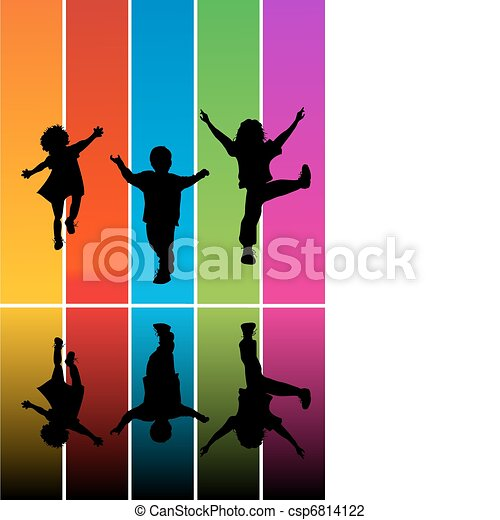 Jumping children silhouettes - csp6814122