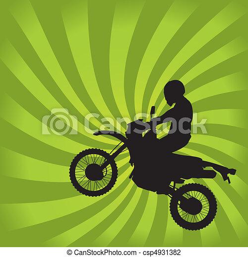 Jumping Dirt Bike Silhouette - csp4931382