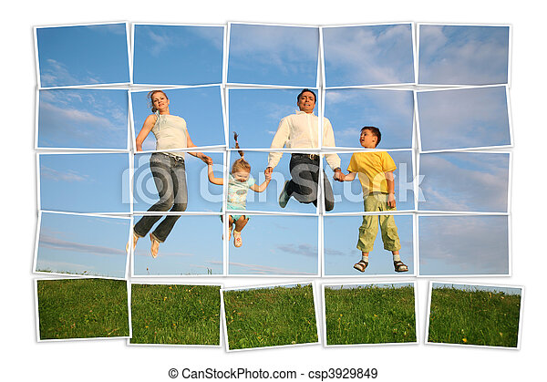jumping family on grass, collage  - csp3929849