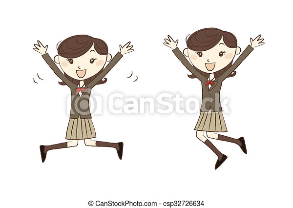 Line Art Uniform : Jumping female high school student in uniform drawings