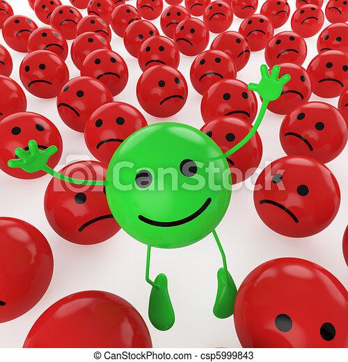 jumping green smiley - csp5999843