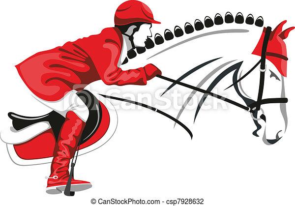 Jumping horse and jockey - csp7928632