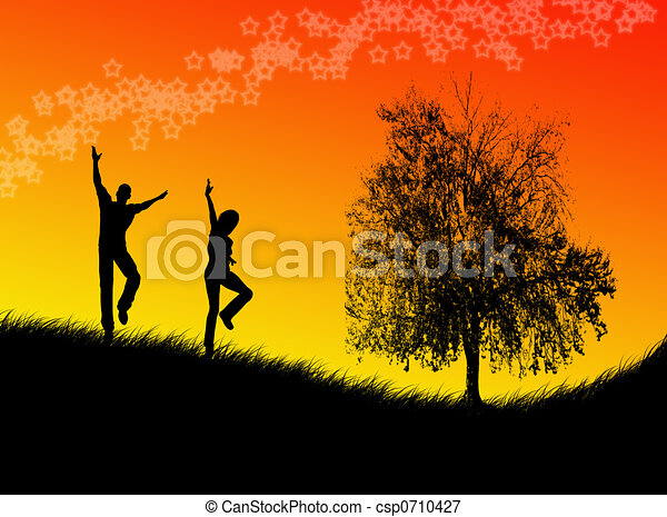 Jumping in the sunset - csp0710427