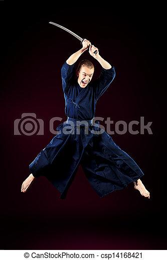 jumping kendoka - csp14168421