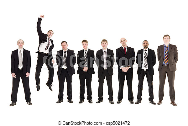 Jumping man in a row with other men - csp5021472