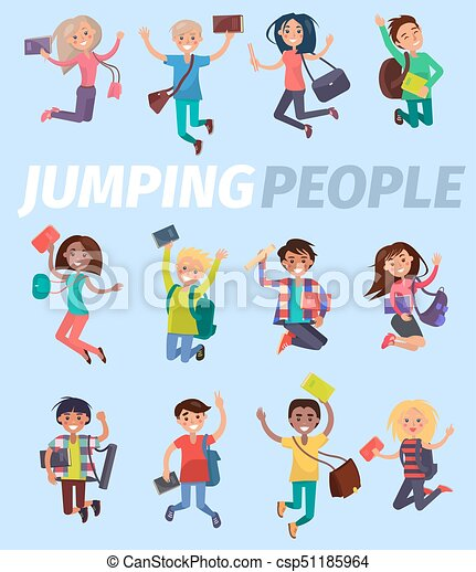 jumping people twelve happy students flat design on blue clip art rh canstockphoto com Happy Building Happy Clip Art