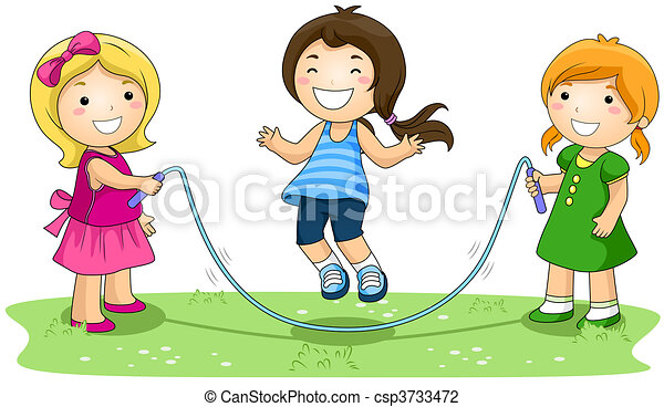 children jumping rope in the park clip art - search illustration