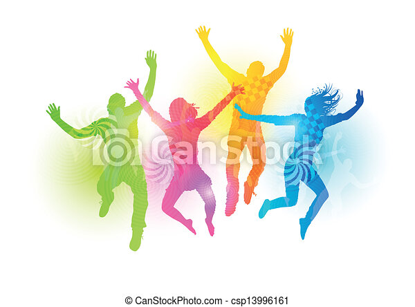 jumping young adults colourful jumping people healthly young rh canstockphoto com Young People Images Graphics Young People Dancing