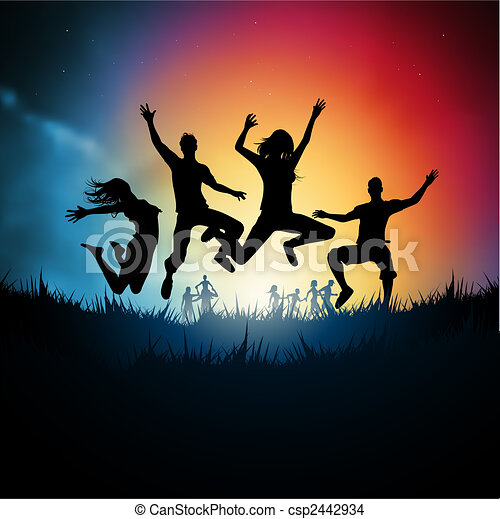 Jumping Young Adults - csp2442934