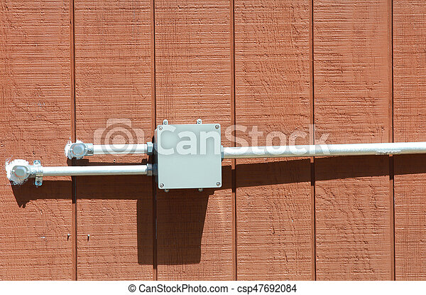 Junction box on the wood wall - csp47692084