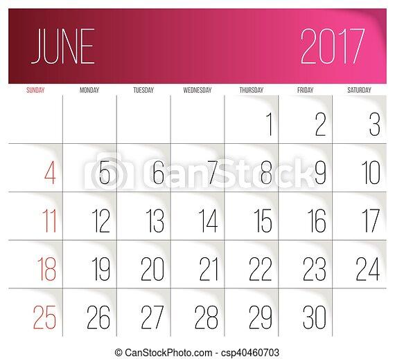 June 2017 calendar template calendar 2017 vector design vector june 2017 calendar template vector pronofoot35fo Images