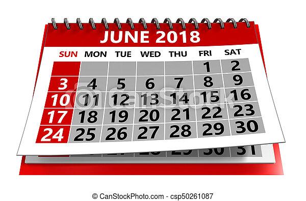 3d illustration of june 2018 calendar isolated over white ...