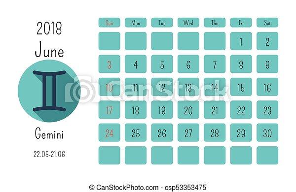 June Calendar 2018 With Horoscope Signs Zodiac Symbols Flat Colored