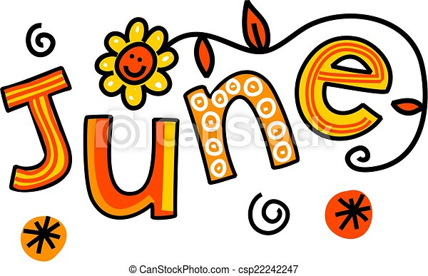 June clip art. Whimsical cartoon text doodle for the month ...