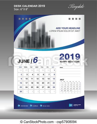 June Desk Calendar 2019 Template Flyer Design Vector