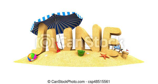 JUNE - word of sand. 3d illustration - csp48515561