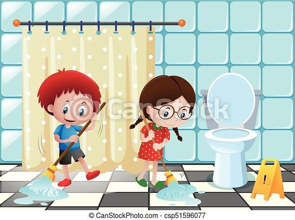 junge, badezimmer, putzen, m�dchen