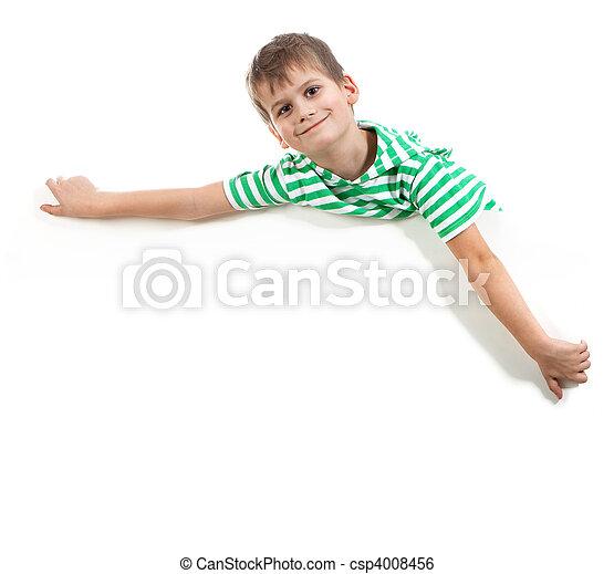 Junge mit einem Banner - csp4008456