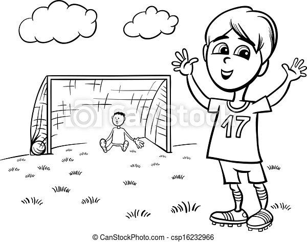 Junge, färbung, fußball, spielende , seite. Reizend,... Clipart ...