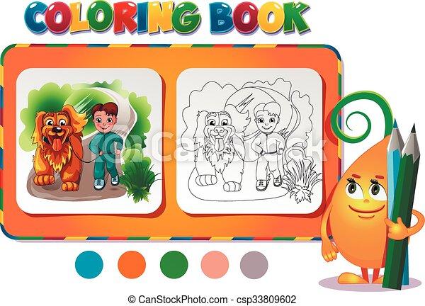 Junge, färbung, hund, buch. Junge, färbung, illustration., -, hund ...