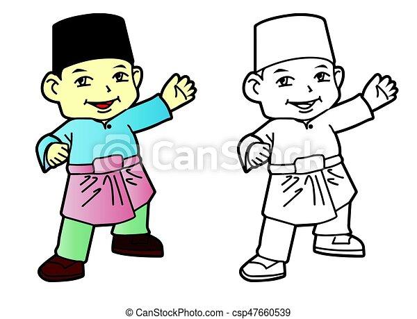 Junge, färbung, moslem, -, abbildung, vektor, melayu.... Vektoren ...