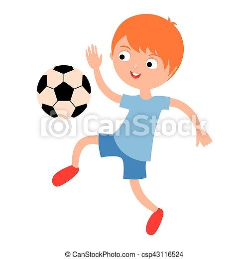 Junger Junge Der Football Vektor Bilder Spielt Sportliches