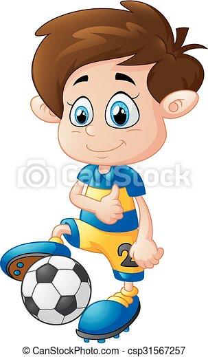 Junge Fussball Karikatur Spielende Junge Fussball