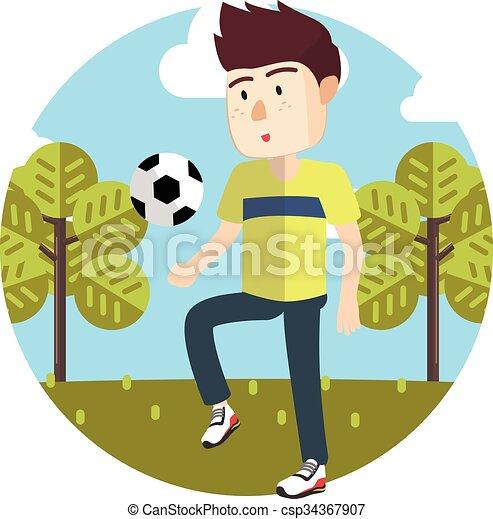 Junge Der Football Spielt