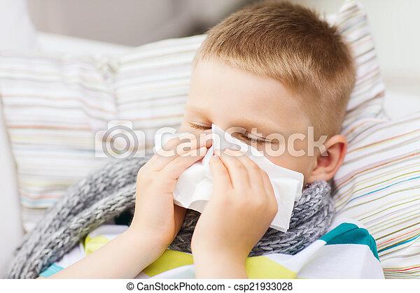 junge, krank, grippe, daheim - csp21933028